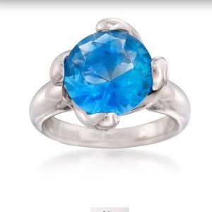 Jewelry - Round Simulated Blue Topaz Ring💎